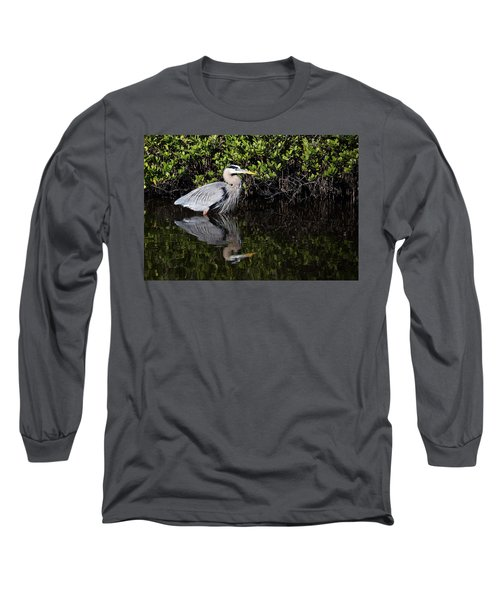 Great Blue Heron With Reflection Long Sleeve T-Shirt