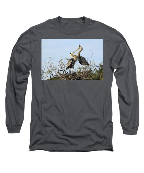 Great-blue Herons On Nest At The Venice Rookery, Florida Long Sleeve T-Shirt