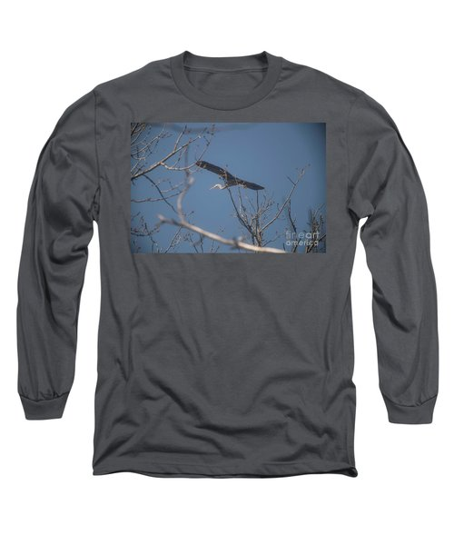 Long Sleeve T-Shirt featuring the photograph Great Blue In Flight by David Bearden