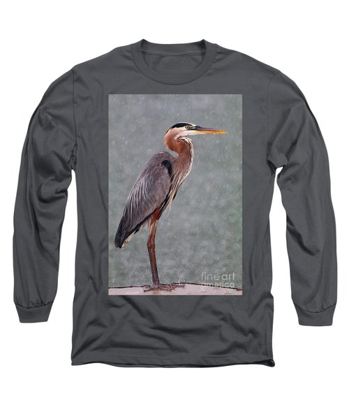 Great Blue In The Rain Long Sleeve T-Shirt