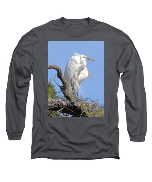 Long Sleeve T-Shirt featuring the photograph Great Egret by Marion Johnson