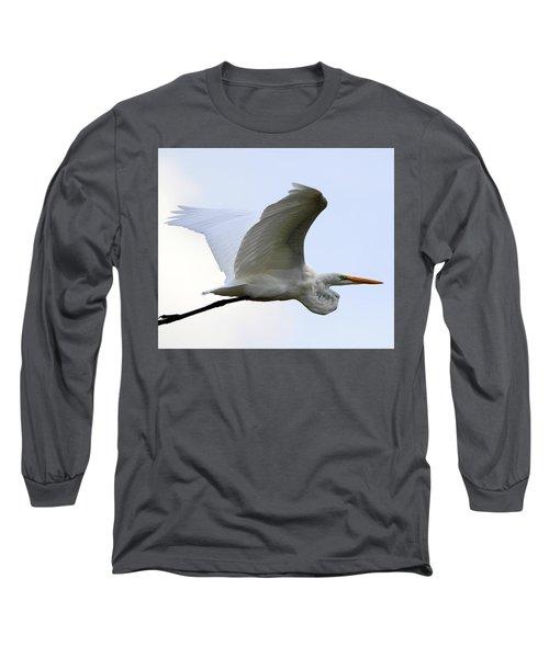 Great Egret Port Jefferson New York Long Sleeve T-Shirt by Bob Savage