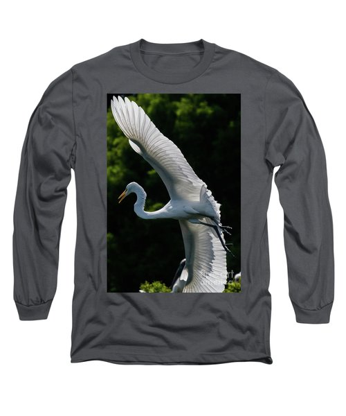 Great Egret's Wingspan Long Sleeve T-Shirt