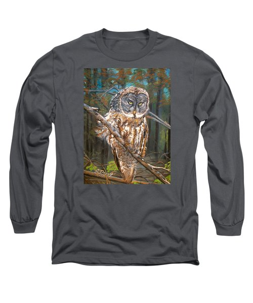 Great Grey Owl 2 Long Sleeve T-Shirt by Sharon Duguay