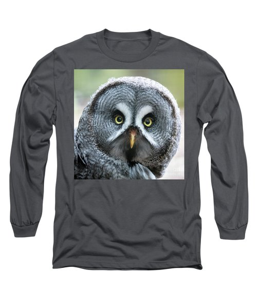 Great Grey Owl Closeup Long Sleeve T-Shirt