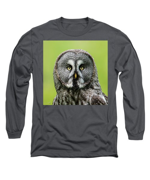 Great Grey's Portrait Closeup Square Long Sleeve T-Shirt