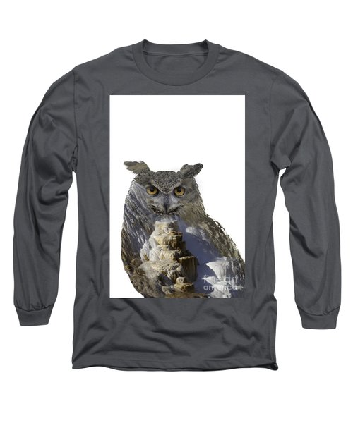 Great Horned Owl And Mammoth Hot Springs Long Sleeve T-Shirt