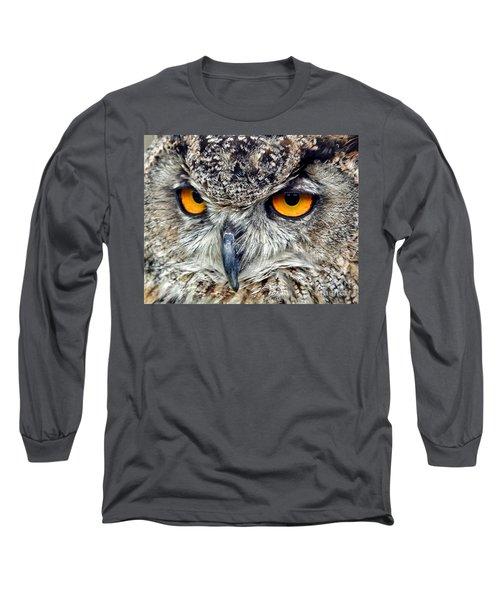 Great Horned Owl Closeup Long Sleeve T-Shirt by Jim Fitzpatrick
