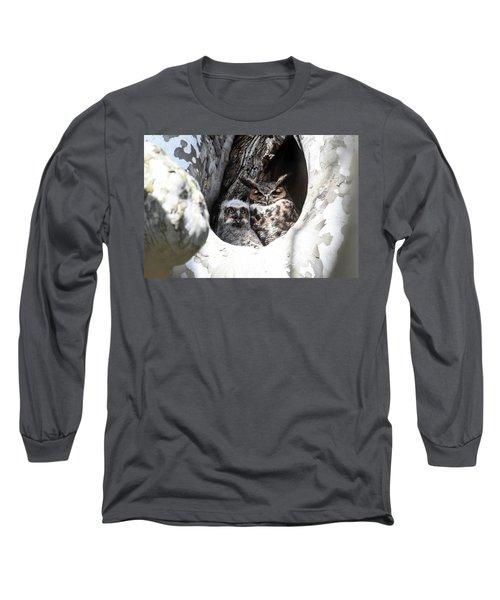 Great Horned Owl Nest Long Sleeve T-Shirt