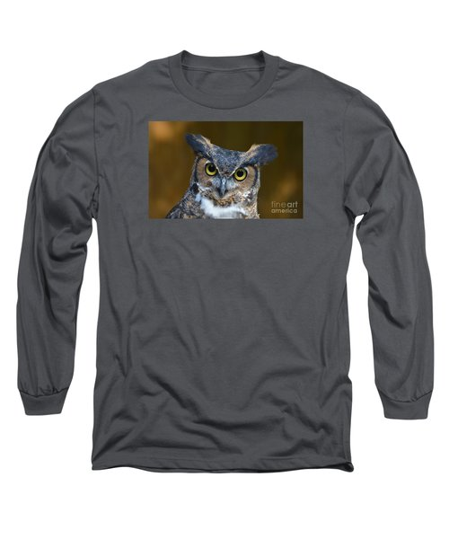 Great Horned Owl Portrait Long Sleeve T-Shirt by Kathy Baccari