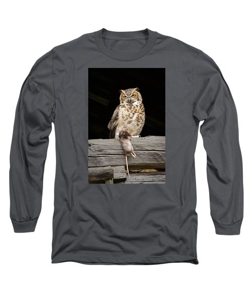 Great Horned Owl With Dinner Long Sleeve T-Shirt