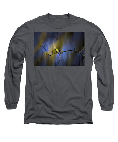 Great Tit On Branch #h3 Long Sleeve T-Shirt