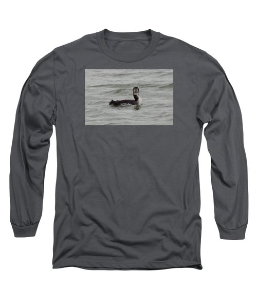 Grebe Looking At Me Long Sleeve T-Shirt by Karen Molenaar Terrell