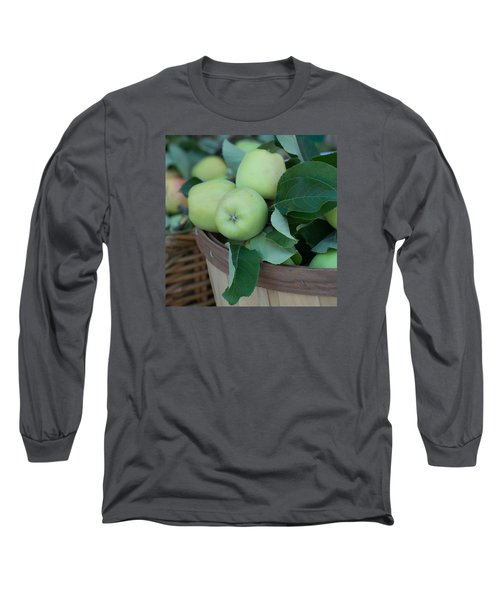 Green Apples In A Basket  Long Sleeve T-Shirt by Michael Moriarty