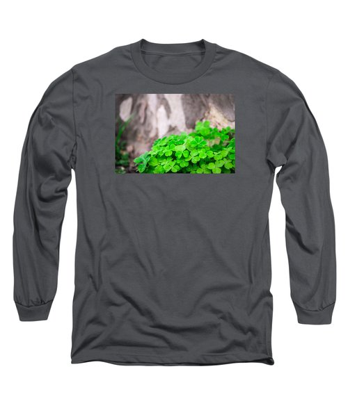 Green Clover And Grey Tree Long Sleeve T-Shirt by John Williams