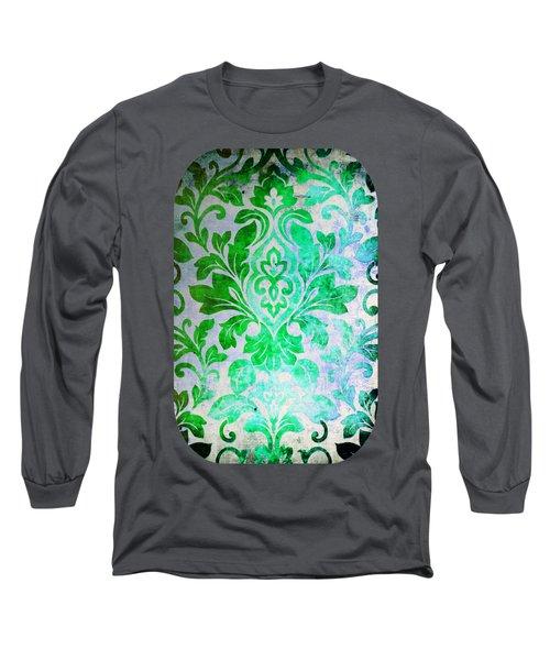 Green Damask Pattern Long Sleeve T-Shirt