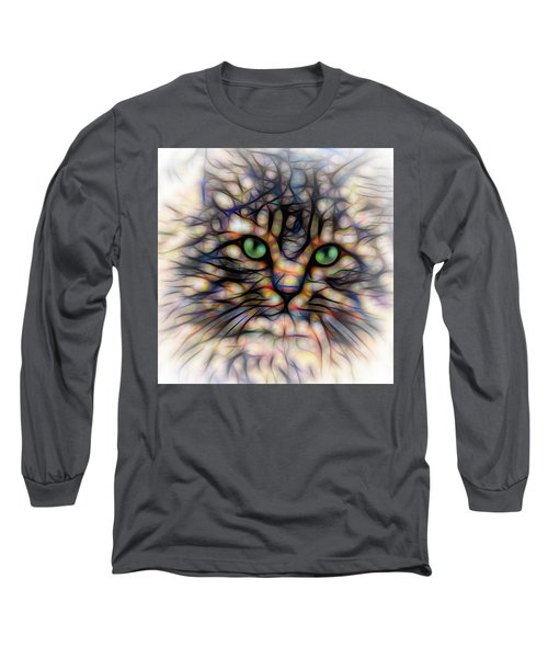 Green Eye Kitty Square Long Sleeve T-Shirt by Terry DeLuco