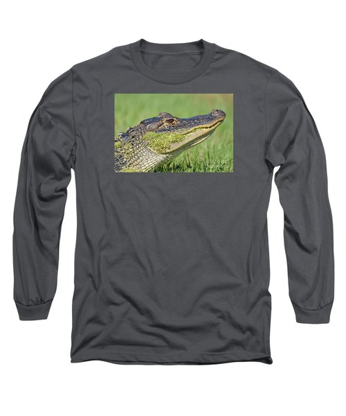 Green Grin  Long Sleeve T-Shirt by Kathy Gibbons