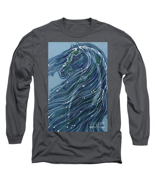 Green Horse With Flying Mane Long Sleeve T-Shirt