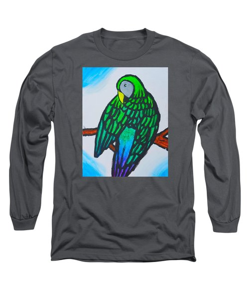 Green Parrot Long Sleeve T-Shirt by Artists With Autism Inc