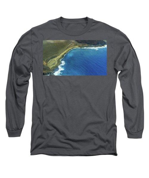 Green Sand Beach Aerial Long Sleeve T-Shirt