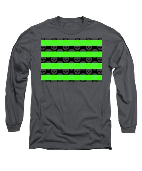 Green Skull Stripes Long Sleeve T-Shirt by Roseanne Jones