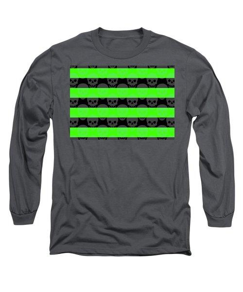Green Skull Stripes Long Sleeve T-Shirt