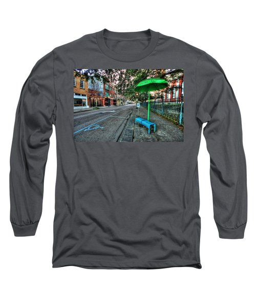 Green Umbrella Bus Stop Long Sleeve T-Shirt