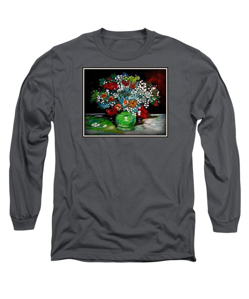 Green Vase With Flowers Long Sleeve T-Shirt