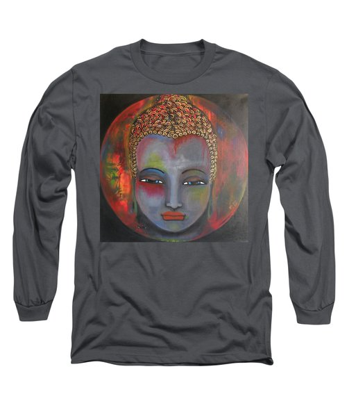 Long Sleeve T-Shirt featuring the painting Grey Buddha In A Circular Background by Prerna Poojara