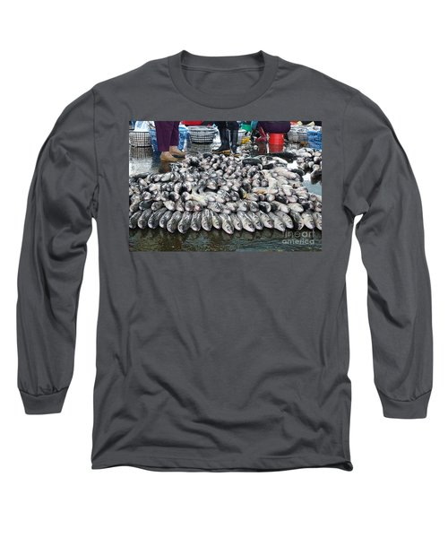 Long Sleeve T-Shirt featuring the photograph Grey Mullet Fish For Sale At The Fish Market by Yali Shi