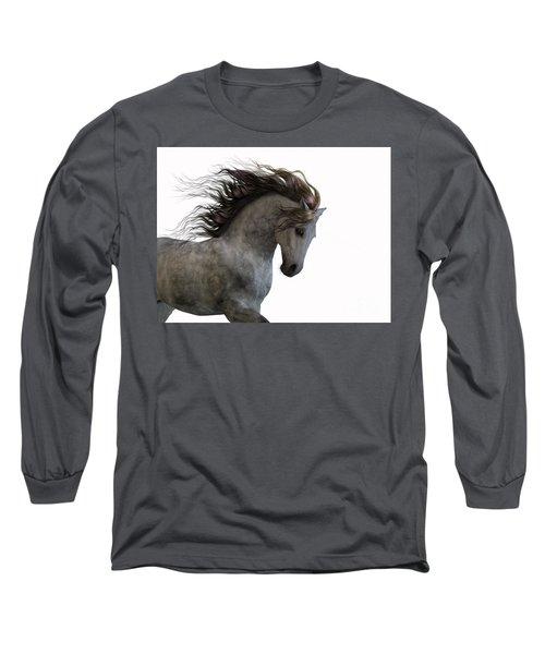 Grey On White Long Sleeve T-Shirt