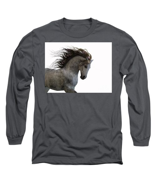 Grey On White Long Sleeve T-Shirt
