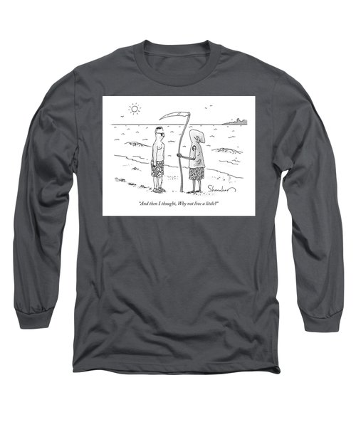 Grim Reaper Wearing A Swimsuit At The Beach. Long Sleeve T-Shirt