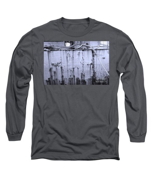 Long Sleeve T-Shirt featuring the photograph Grimy Old Ship Hull by Yali Shi