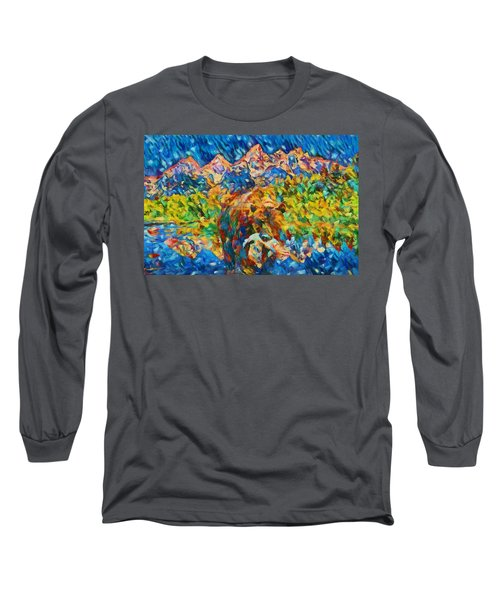 Long Sleeve T-Shirt featuring the painting Grizzly Catch In The Tetons by Dan Sproul