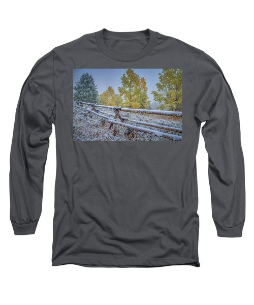 Gros Ventre Grand Teton Fall Snowfall Fence Long Sleeve T-Shirt