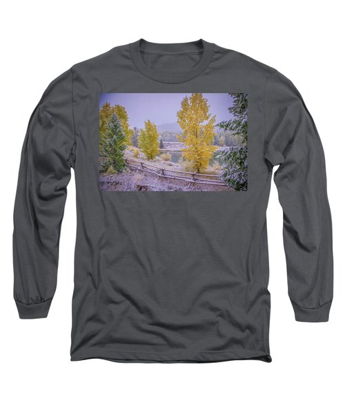 Gros Ventre Grand Teton Fall Snowfall Long Sleeve T-Shirt