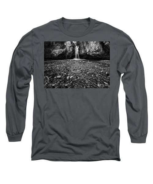 Grotto Falls In Black And White Long Sleeve T-Shirt