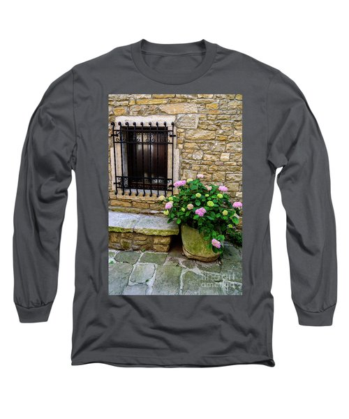 Groznjan Istrian Hill Town Stonework And Flowerpot - Istria, Croatia Long Sleeve T-Shirt