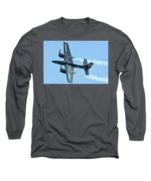 Long Sleeve T-Shirt featuring the photograph Grumman F7f-3p Tigercat Nx700f Here Kitty Kitty Chino California April 30 2016 by Brian Lockett