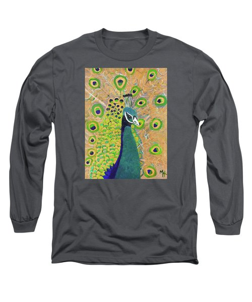 Guilded Peacock Long Sleeve T-Shirt by Margaret Harmon