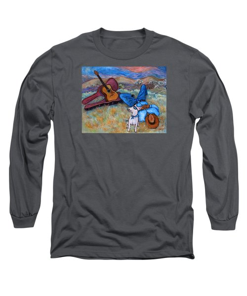 Long Sleeve T-Shirt featuring the painting Guitar Doggy And Me In Wine Country by Xueling Zou