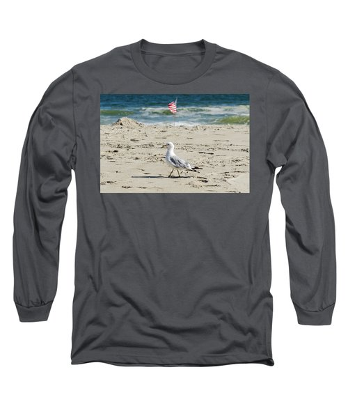 Long Sleeve T-Shirt featuring the photograph Gull And Flag Rockaway Beach by Maureen E Ritter