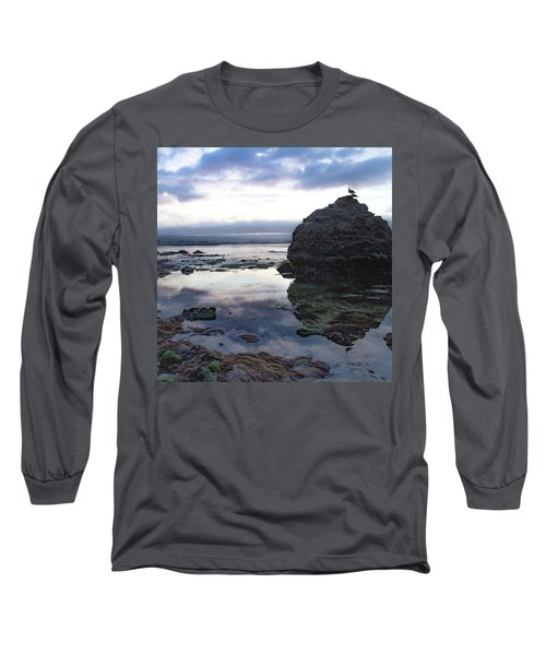 Long Sleeve T-Shirt featuring the photograph Gulls With Clouds by Lora Lee Chapman