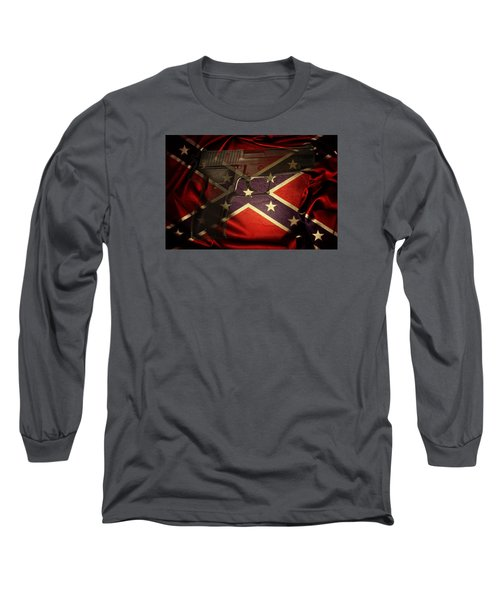 Gun And Flag Long Sleeve T-Shirt by Les Cunliffe