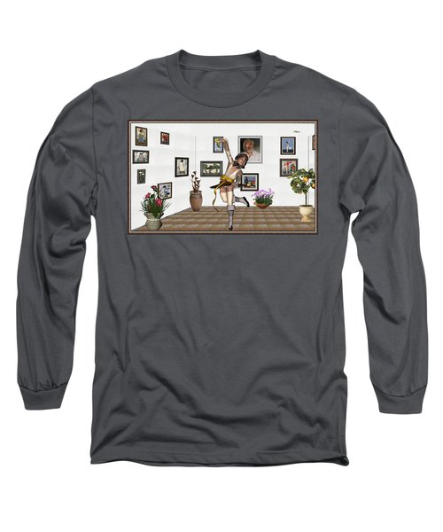 Long Sleeve T-Shirt featuring the mixed media Digital Exhibartition _  Dancing Girl  by Pemaro