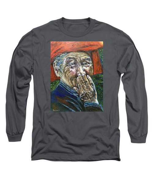 Long Sleeve T-Shirt featuring the painting H A P P Y by Belinda Low