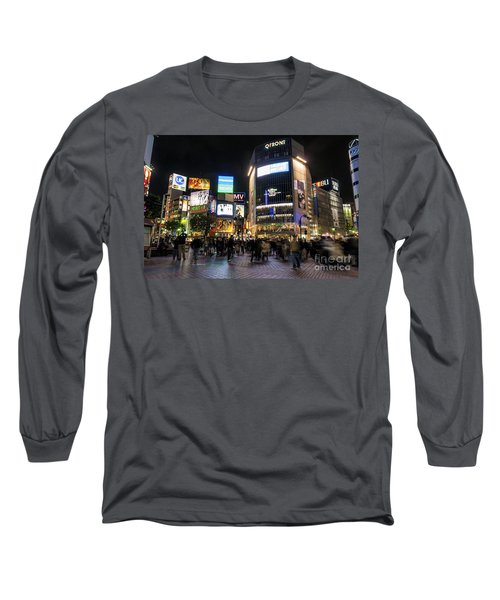 Hachiko Crossing In Shibuya Area Of Central Tokyo Japan Long Sleeve T-Shirt