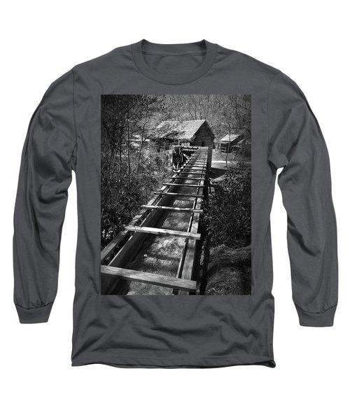 Hagood Gristmill Waterwheel At Hagood Mill Long Sleeve T-Shirt by Kelly Hazel